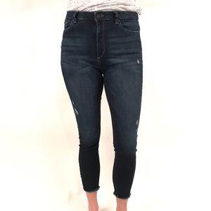 DL1961 dark wash Chrissy trim tone skinny jean